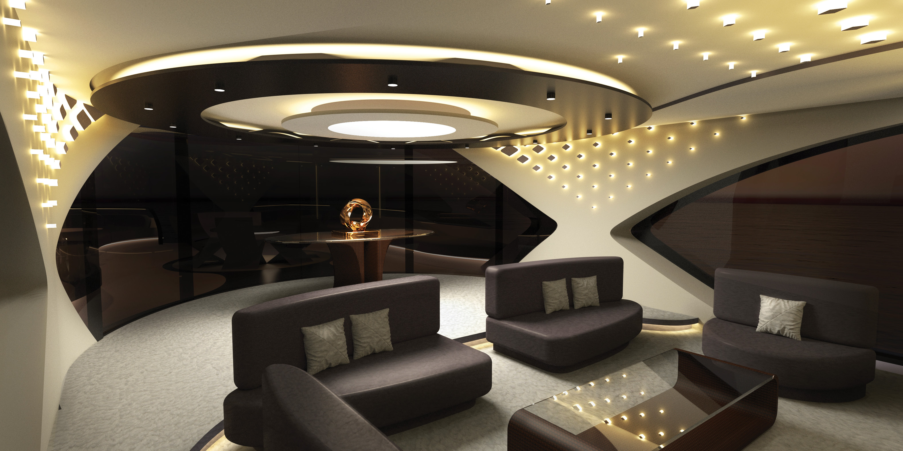 Saloon and Dining - Interior Accommodation - Luxury Superyacht concept CERCIO designed by Baoqi Xiao