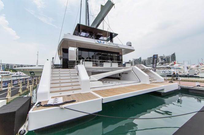 Aft View of EAGLE WINGS -A Sunreef Supreme 68 Cat