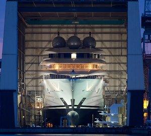 100+M Mega Yacht Project MISTRAL Splashes At Lurssen