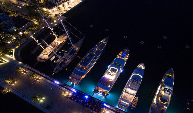 The Superyachts line up on the dock