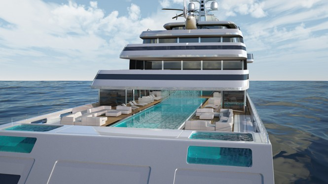 Pool area and aft deck - The Gill Schmid 110m HALYCON super yacht design project