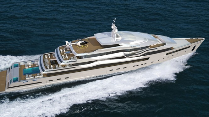 The yacht from above