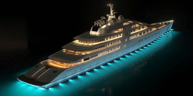 The Yacht Eclipse by night