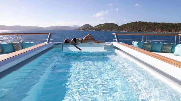The Yacht Solandge superyacht pool and aft deck