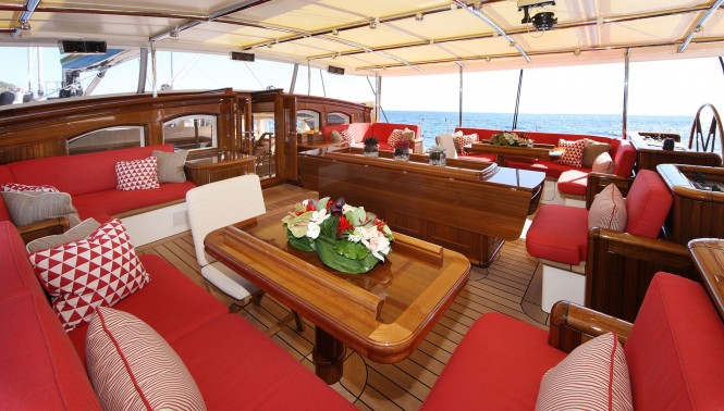 The dining area and outdoor living space aboard regatta-winning S/Y MARIE