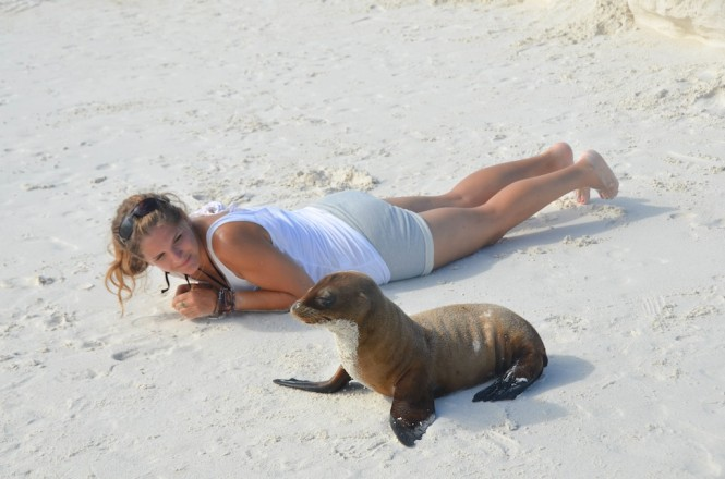 East - Close with Sea Lion - Gardner Bay Espanola - Photo Weston Walker-Knoblich
