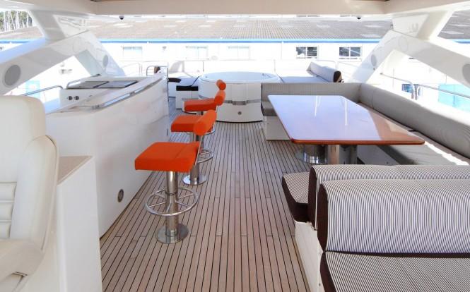 Luxury yacht SIMPLE PLEASURE - Sundeck. Photo credit: Sunseeker Yachts