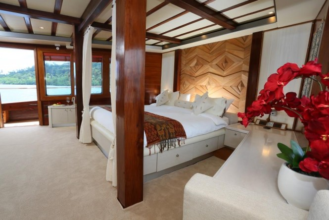 The Master suite aboard luxury yacht LAMIMA