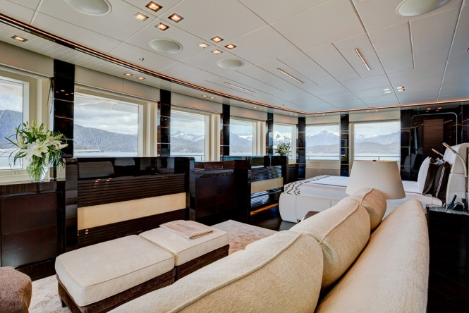 VIP stateroom and private lounge area aboard luxury yacht PARTY GIRL