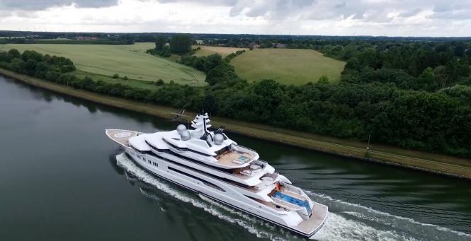 Drone footage: yacht Amadea. Photo credit AS-Flycam-Kiel.de:Andreas Schuster