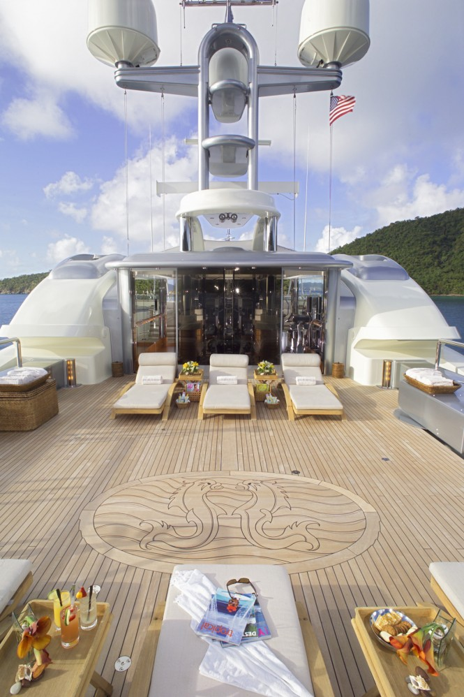 Sundeck aft and gym aboard M/Y CALYPSO