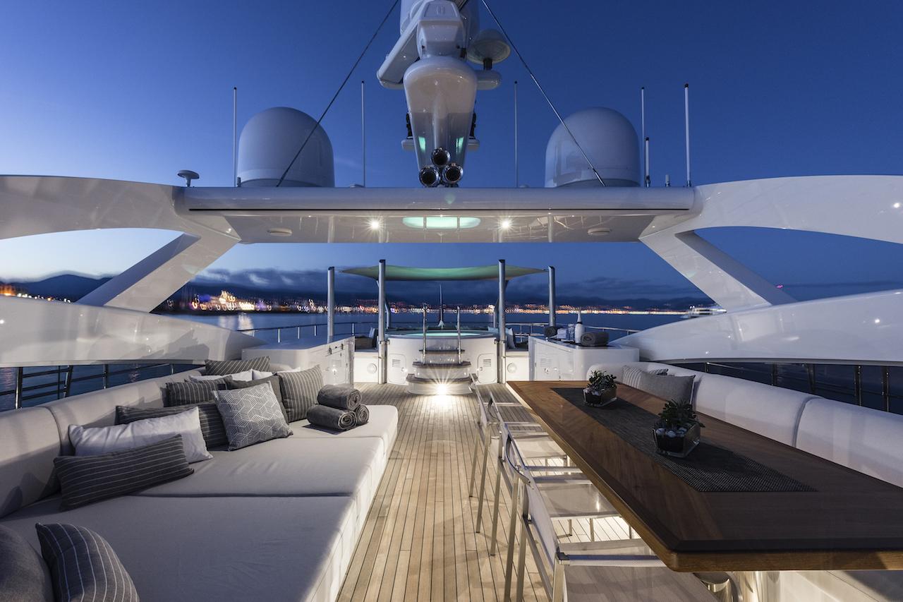 Sundeck in the evening aboard luxury yacht DESTINY