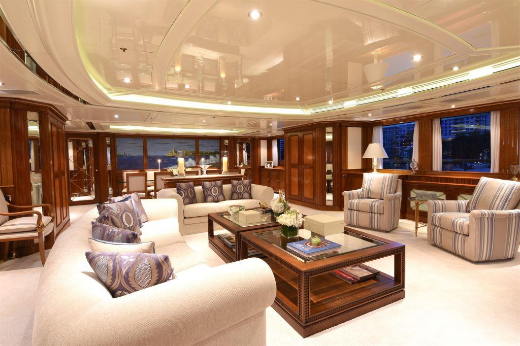 The elegant main salon aboard luxury yacht LADY MICHELLE