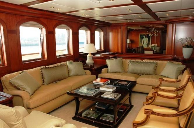 The main salon aboard luxury yacht ATHENA