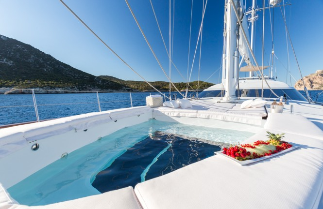 The tender garage converts into a freshwater Jacuzzi aboard sailing yacht Q