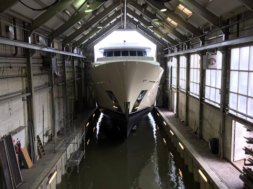 2017-built motor yacht Soprano at the Hakvoort Netherlands shipyard. Photo credit: Hakvoort