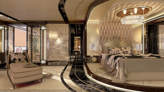 Beautiful Owners Suite with luxurious materials and furnishings - ERA superyacht by Ricky Smith Designs