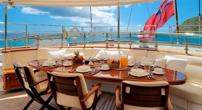 Brakfast aboard Sailing Yacht DRUMBEAT by Dubois Naval Architects