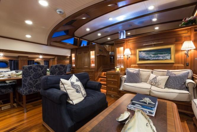 Classically styled, marine-themed interiors of sailing yacht Marae
