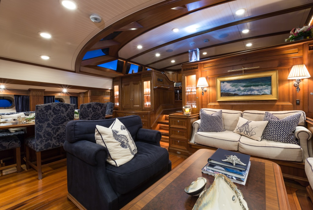 Classically styled, marine-themed interiors of sailing yacht Marae