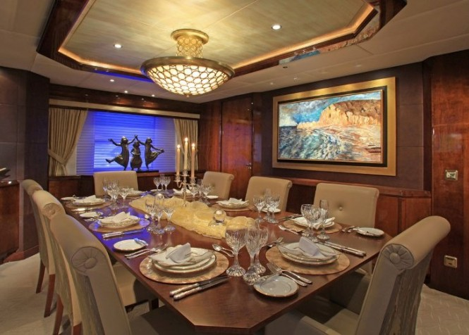 Formal dining aboard luxury yacht CASTELLINA