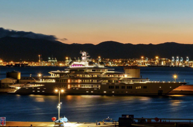 Lurssen Mega Yacht Amadea at night. Port Gibraltar. Photo credit @superyachts_gibraltar