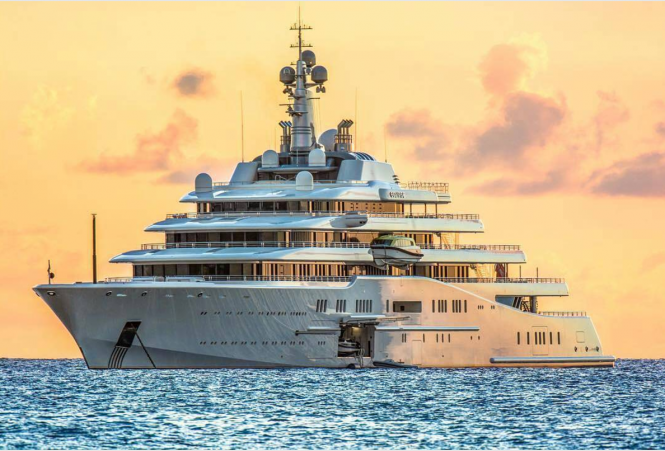 M:Y Eclipse anchored in the waters of the Caribbean, Photo credit Chip Methvin