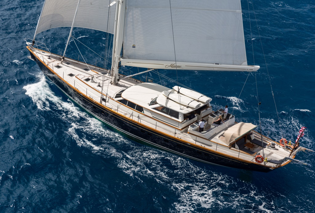 The beautiful sailing yacht MARAE from above