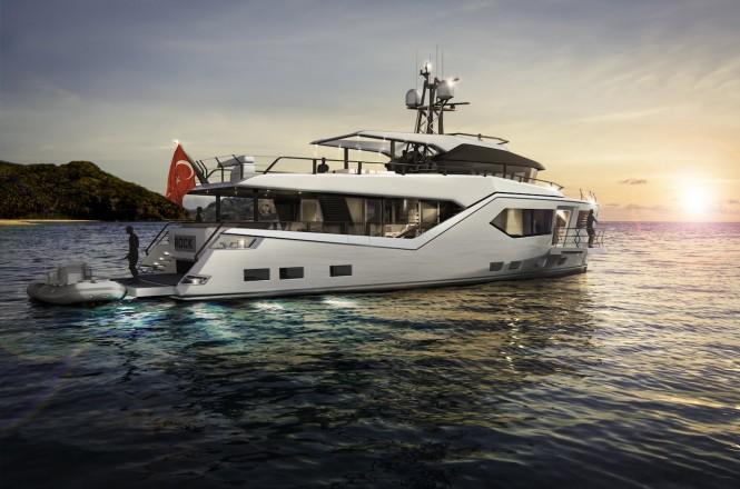 Vripack & Evadne Motor yacht Rock - exterior render