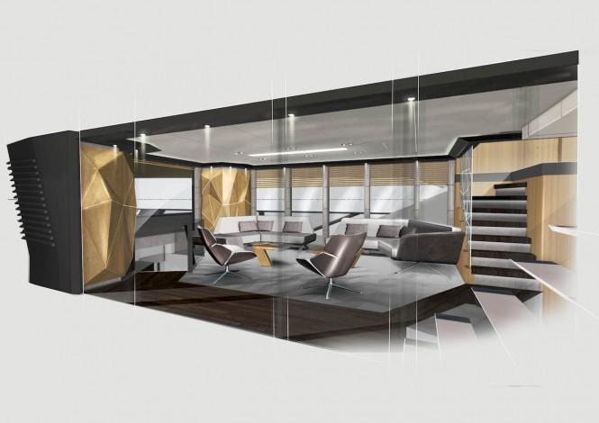 Vripack & Evadne Motor yacht Rock - interior render