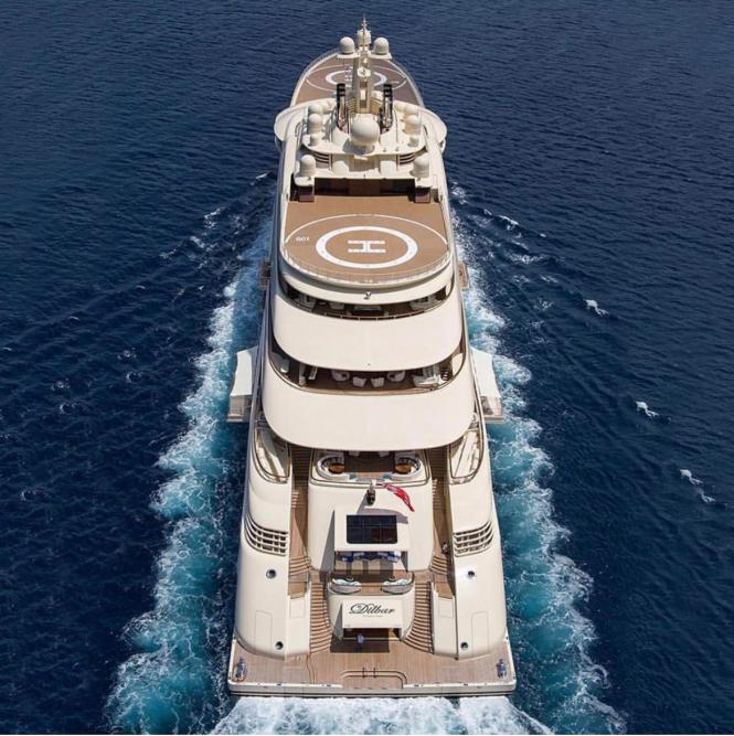 Mega Yacht Dilbar. Photo via @boss_yachting
