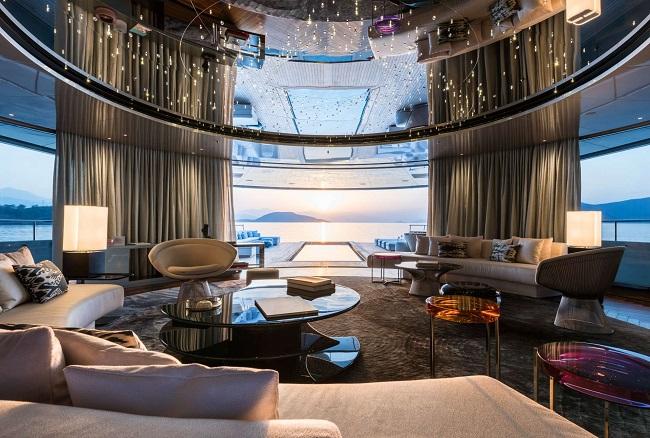 Mega yacht SAVANNAH - Main salon. Photo credit: Jeff Brown