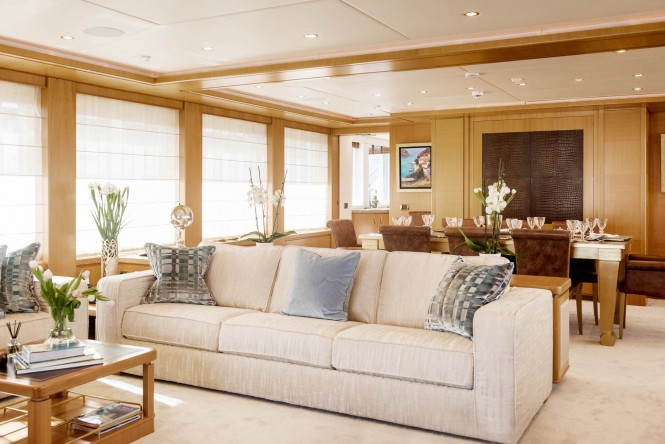 Motor yacht OASIS - Main salon and formal dining area