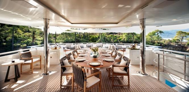 Motor yacht ORIENT STAR - Alfresco dining on the upper aft deck