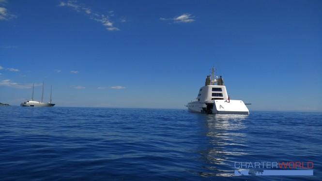 Sailing Yacht A and Motor Yacht A in Monaco. Photo credit Nicolas Benazeth.CharterWorld