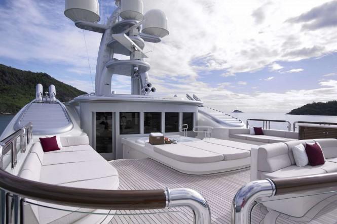 Sun deck aboard ANNA - Photo credit Feadship
