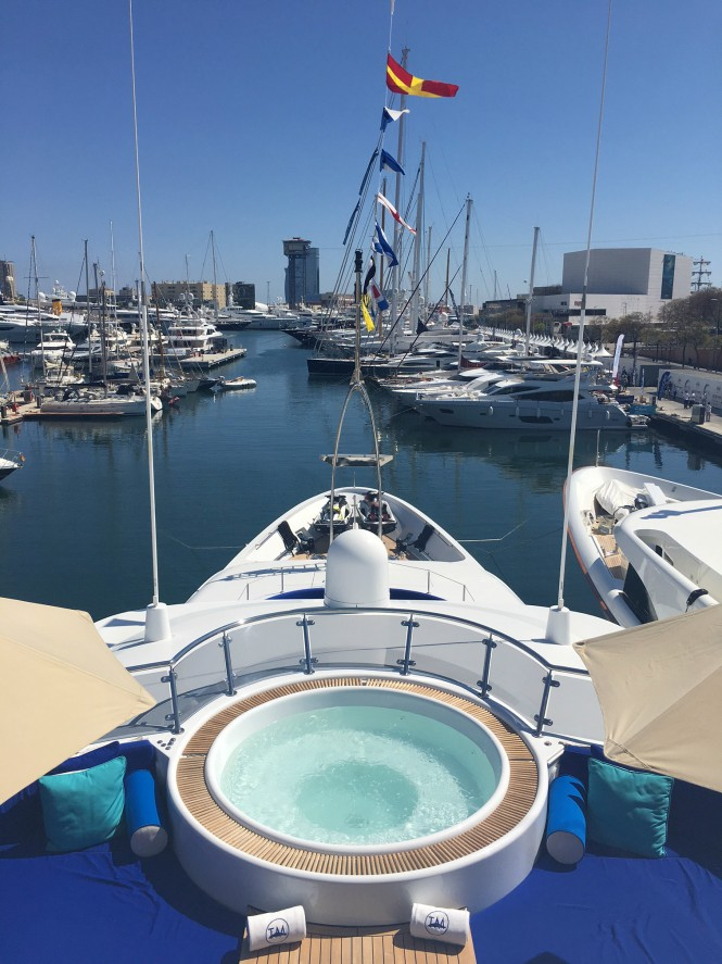Sundeck spa pool aboard luxury yacht TALISMAN MAITON at the MYBA Yacht Show 2017. Photo credit CharterWorld