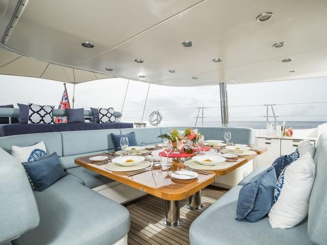 Luxury yacht TWILIGHT - Alfresco dining in the cockpit