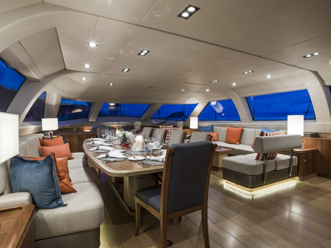 Luxury yacht TWILIGHT - Main salon and formal dining area