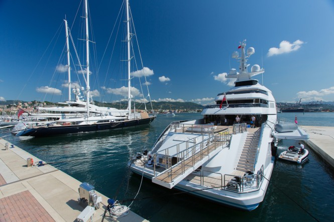 Megayacht at Porto Mirabello - Photo credit Porto Mirabello