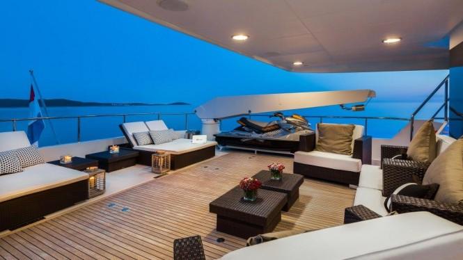 Motor yacht BRAZIL - Upper deck evening shot