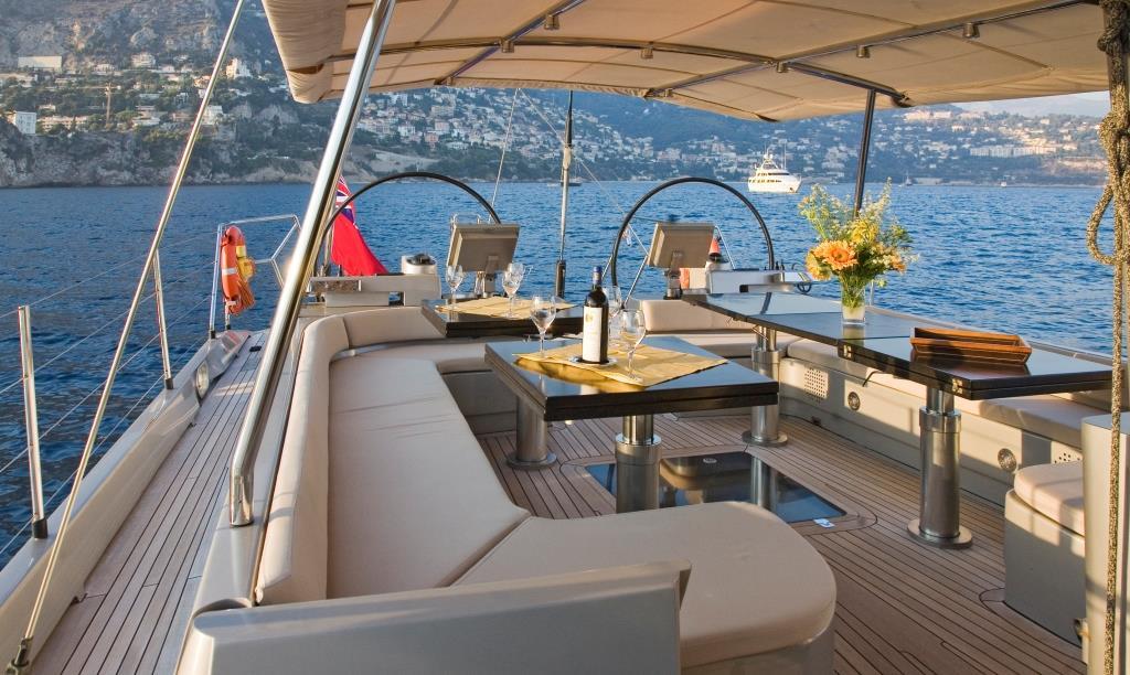 S/Y YAMAKAY - Aft deck alfresco dining