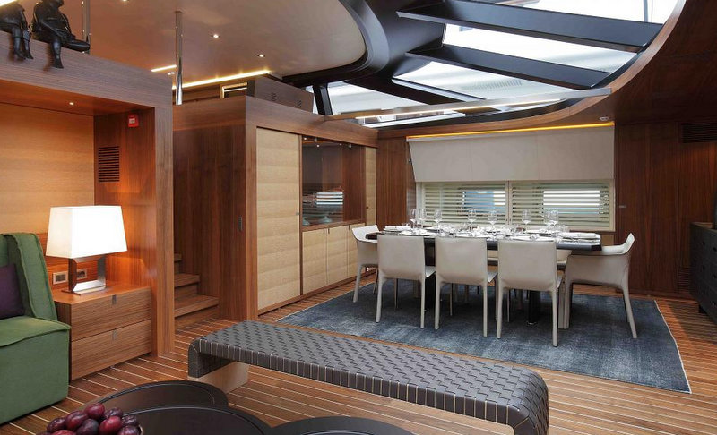 Sailing yacht STATE OF GRACE - Formal dining area with salon behind