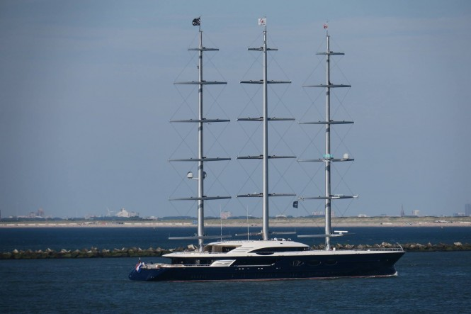 Black Pearl features 3 rotating masts, steel hull and aluminium superstructure. Photo Credit Dutch Yachting