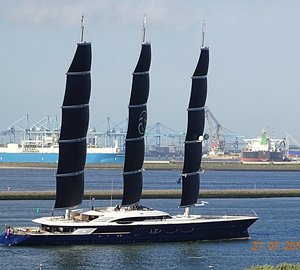 106m Sailing Yacht Black Pearl with Her Sails Rigged