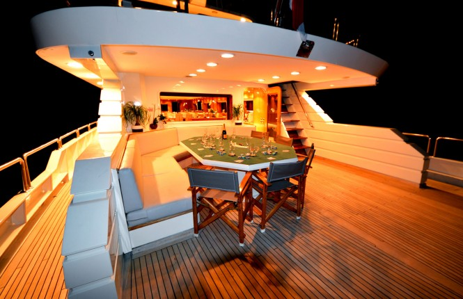 EVIDENCE aft deck dining at night