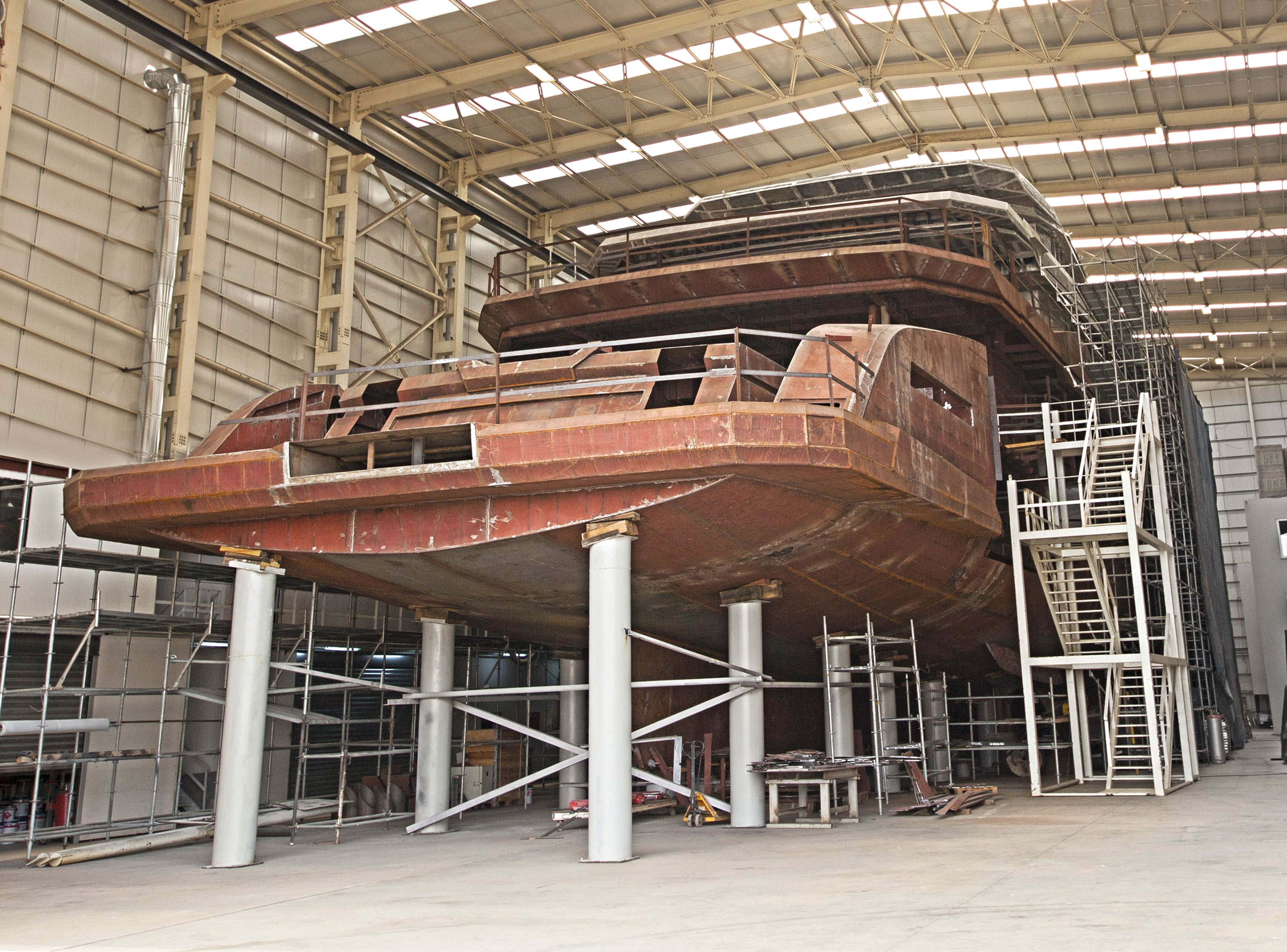 Explorer yacht DAYS under construction at the AES Yachts shipyard