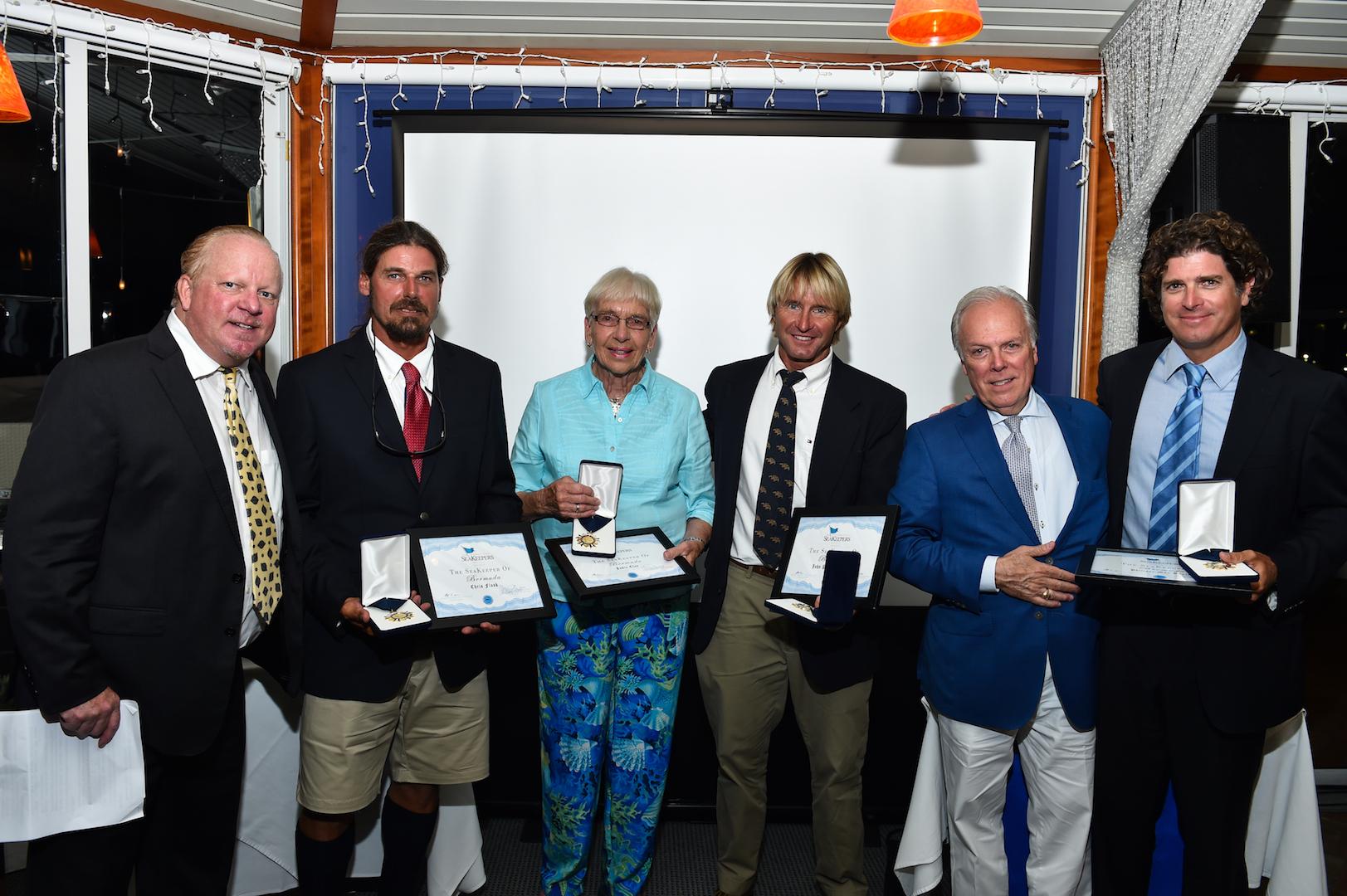 Local Seakeepers Chris Flook, Judie Clee, JP Skinner, Michael T. Moore were also recognised at Seakeepers Bermuda 2017