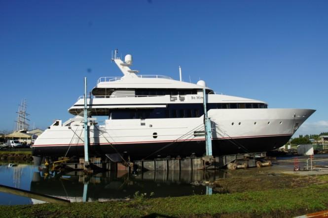 Luxury yacht BE MINE at the Oceania Marine facilities in Whangarei, New Zealand