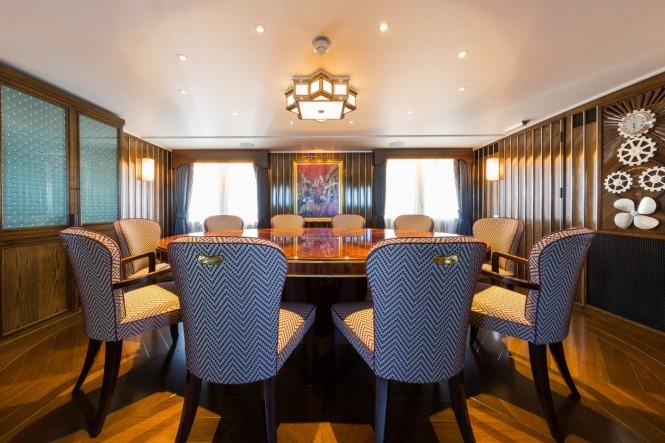 Luxury yacht MALAHNE - Formal dining room. Photo credit Jeff Brown